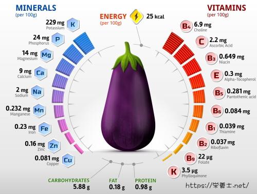 茄子にはいろいろな栄養が含まれています